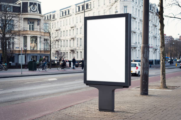 outdoor advertising billboard - ad template stock photos and pictures