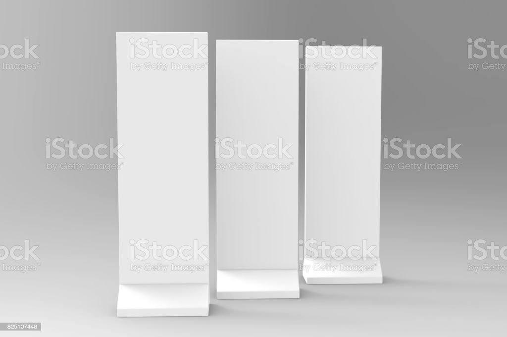 Outdoor Advertising POS POI Stand Banner Or Lightbox. Illustration Isolated On White Background. Mock Up Template Ready For Your Design. stock photo