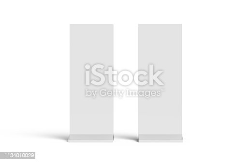 istock Outdoor advertising POS POI stand banner or lightbox, mock up template on isolated white background, ready for your design, 3d illustration 1134010029