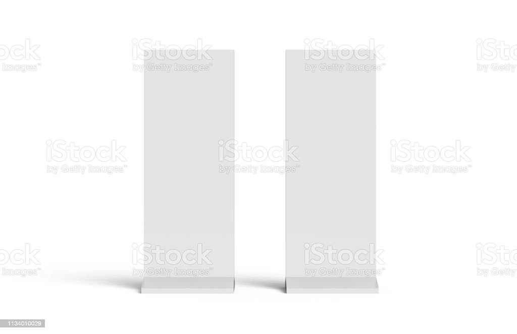 Outdoor advertising POS POI stand banner or lightbox, mock up template on isolated white background, ready for your design, 3d illustration stock photo