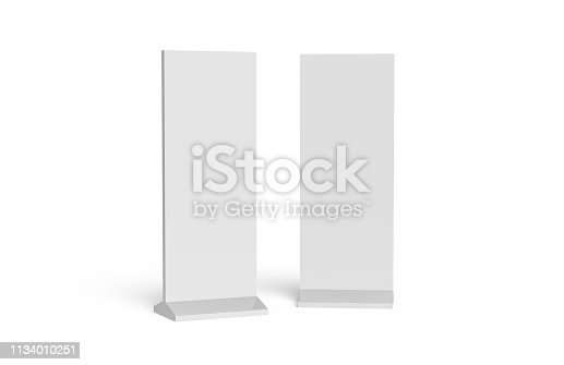 istock Outdoor advertising POS POI stand banner or lightbox, mock up template on isolated white background, ready for your design, 3d illustration 1134010251
