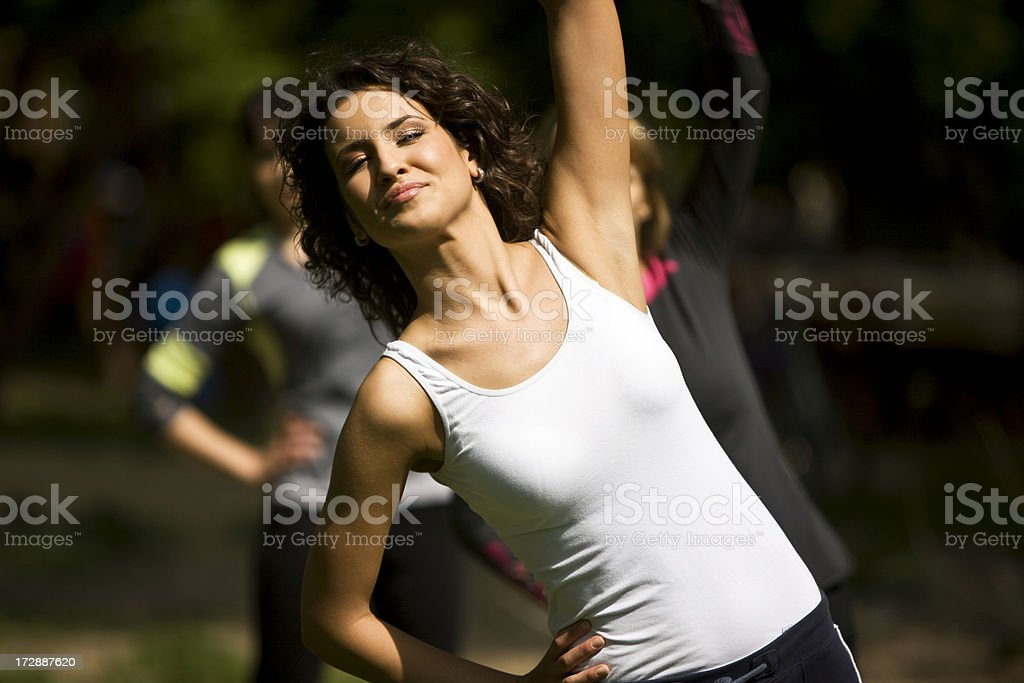 Outdoor aerobics royalty-free stock photo