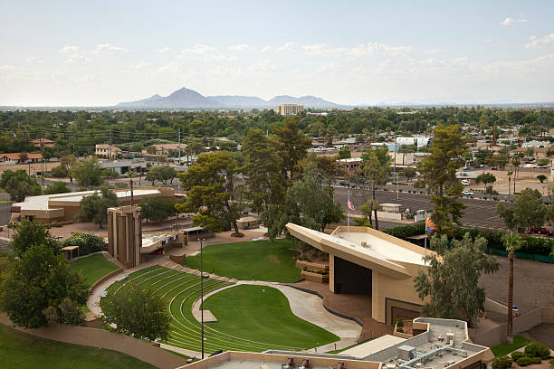 Outdoor Amphitheater Stage with Lawn in Arizona stock photo