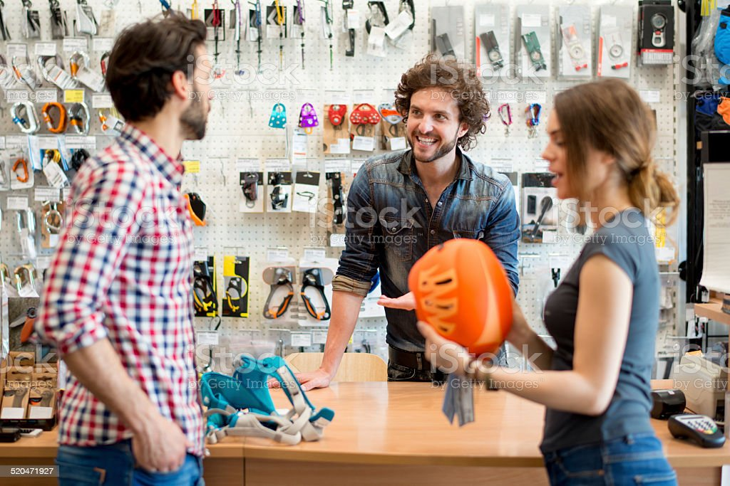Outdoor and sports equipment store stock photo
