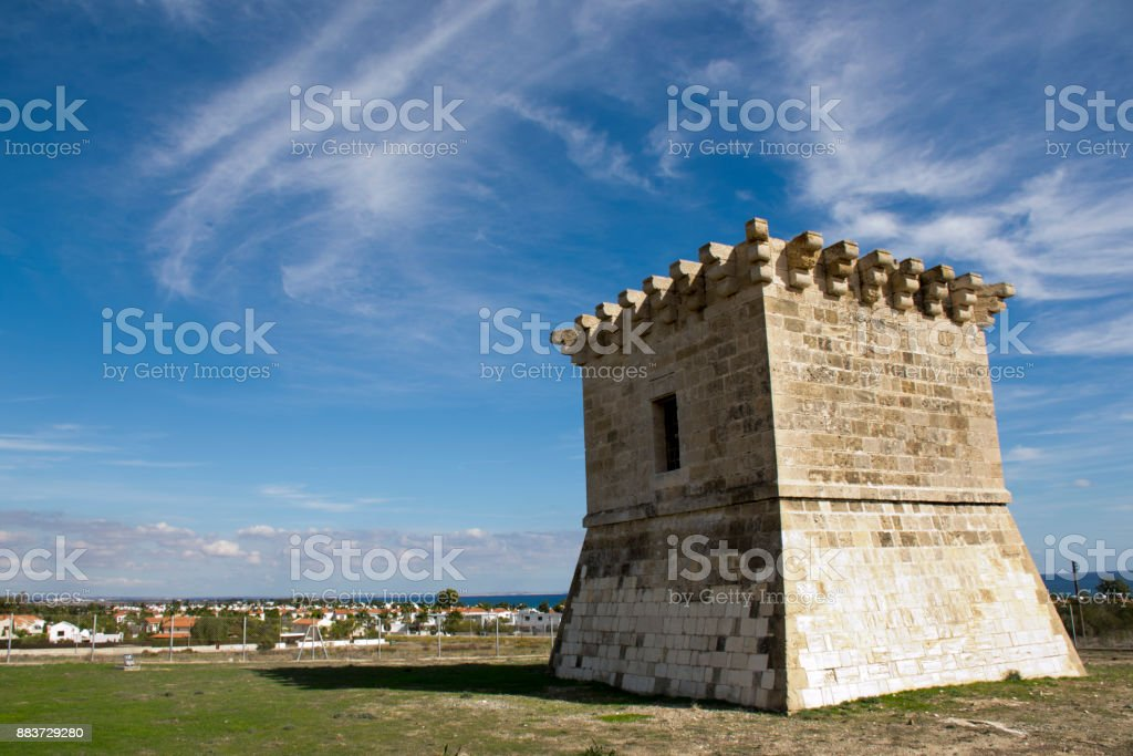 Outdoor architecture of an ancient Venetian tower in Cyprus stock photo