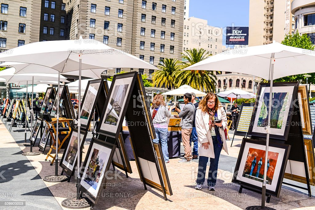 Outdoor Art Gallery on Union Square, San Francisco stock photo
