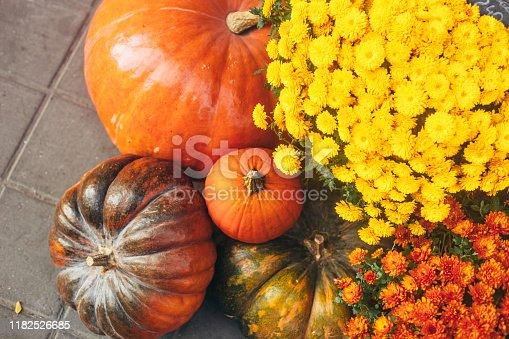 Outdoor autumn or fall decorations with big pumpkins and different flowers. Street decor. Vintage toning.