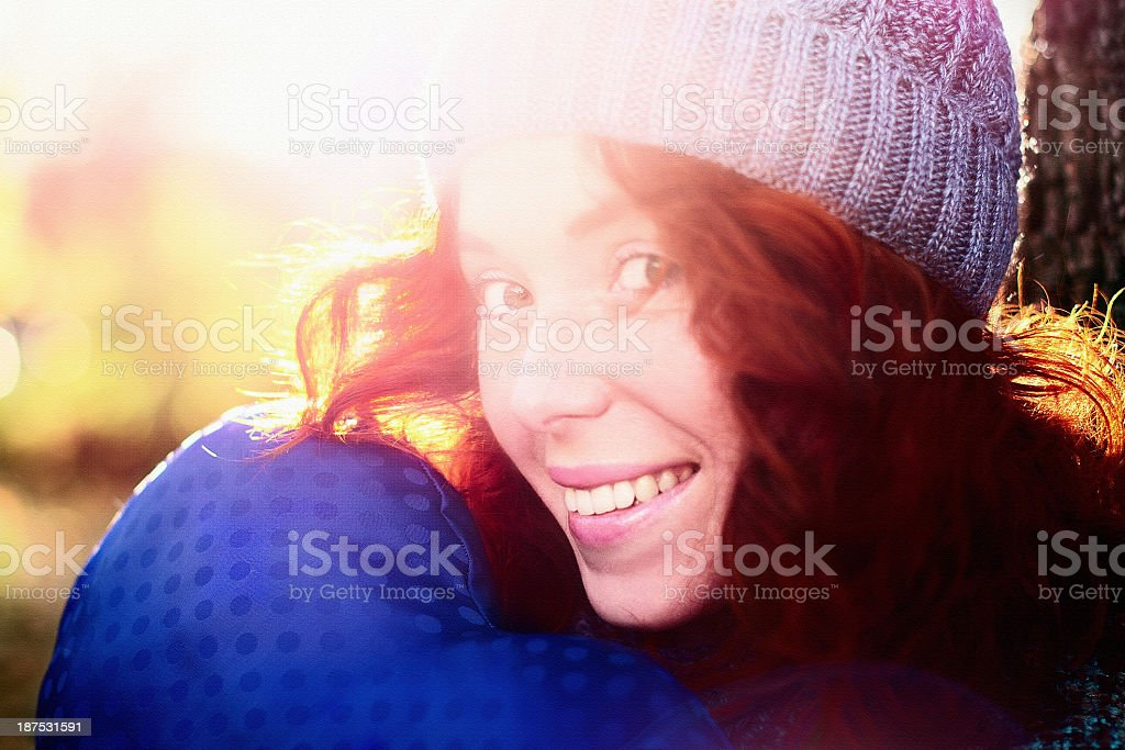 Outdoor autumn portrait of young pretty girl stock photo
