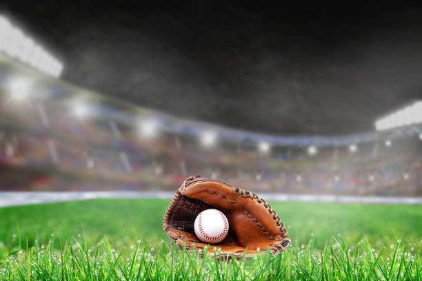 Outdoor Baseball Stadium With Glove and Ball, and Copy Space stock photo