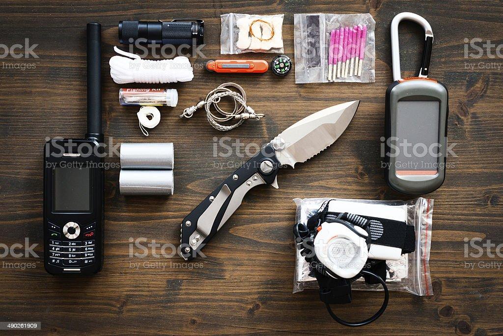 Outdoor basic survivor kit stock photo