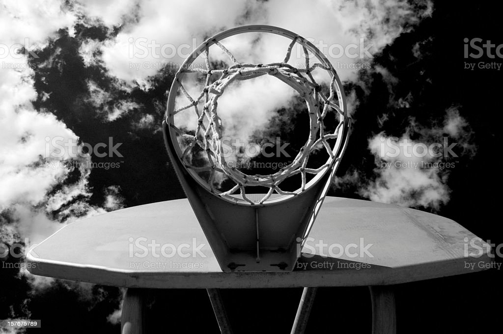 Outdoor Basketball Net, Black and White stock photo