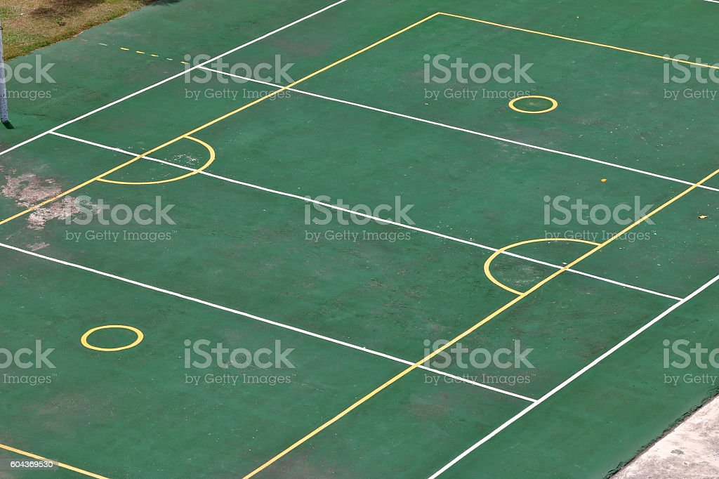 Outdoor basketball, volleyball, badminton court in school. stock photo