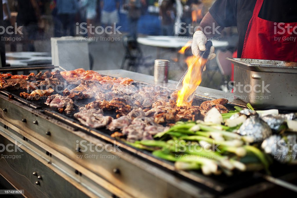 Outdoor BBQ Grill w/Flame royalty-free stock photo