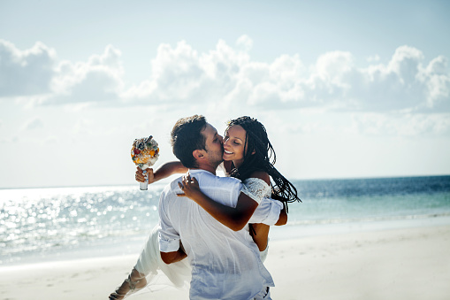 Outdoor beach wedding ceremony near the sea