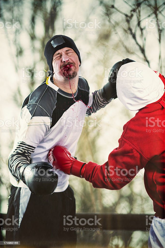 Outdoor boxing training royalty-free stock photo