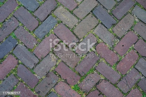 Close up multi colored outdoor brick pavers over grass texture