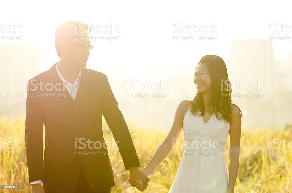 Outdoor Bride and Groom royalty-free stock photo