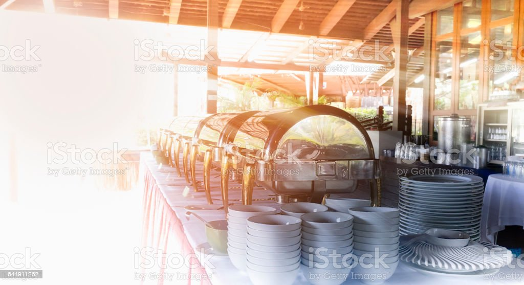 Outdoor buffet in the morning stock photo