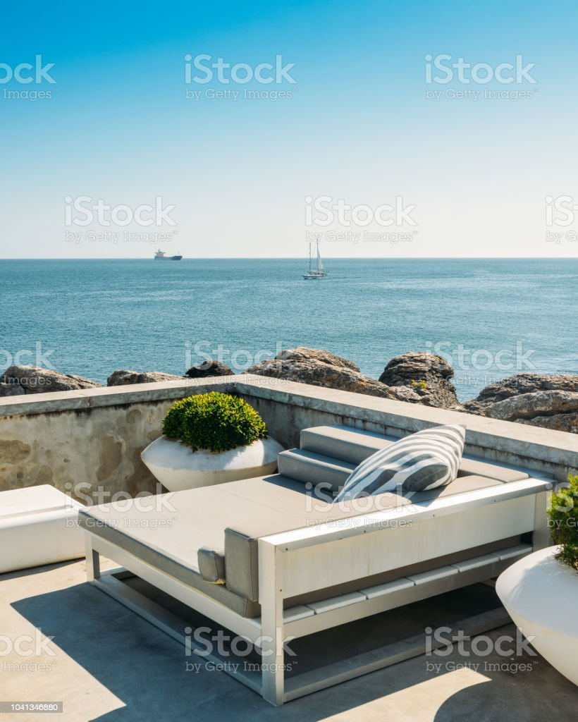 Outdoor Cabana Beds On A Rooftop Overlooking A Tropical Ocean Stock Photo Download Image Now Istock