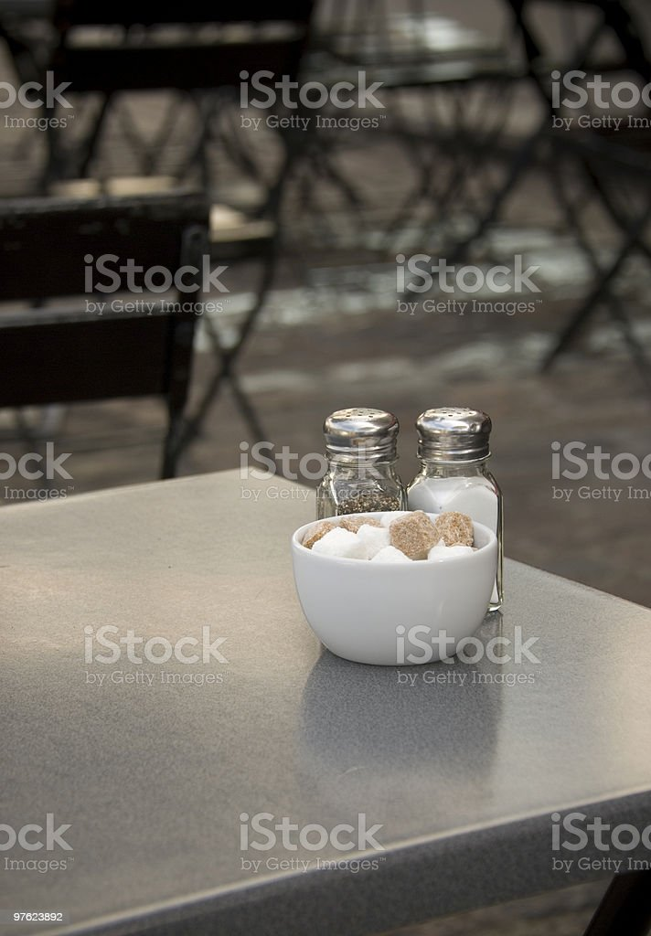 Outdoor cafe in black royalty-free stock photo
