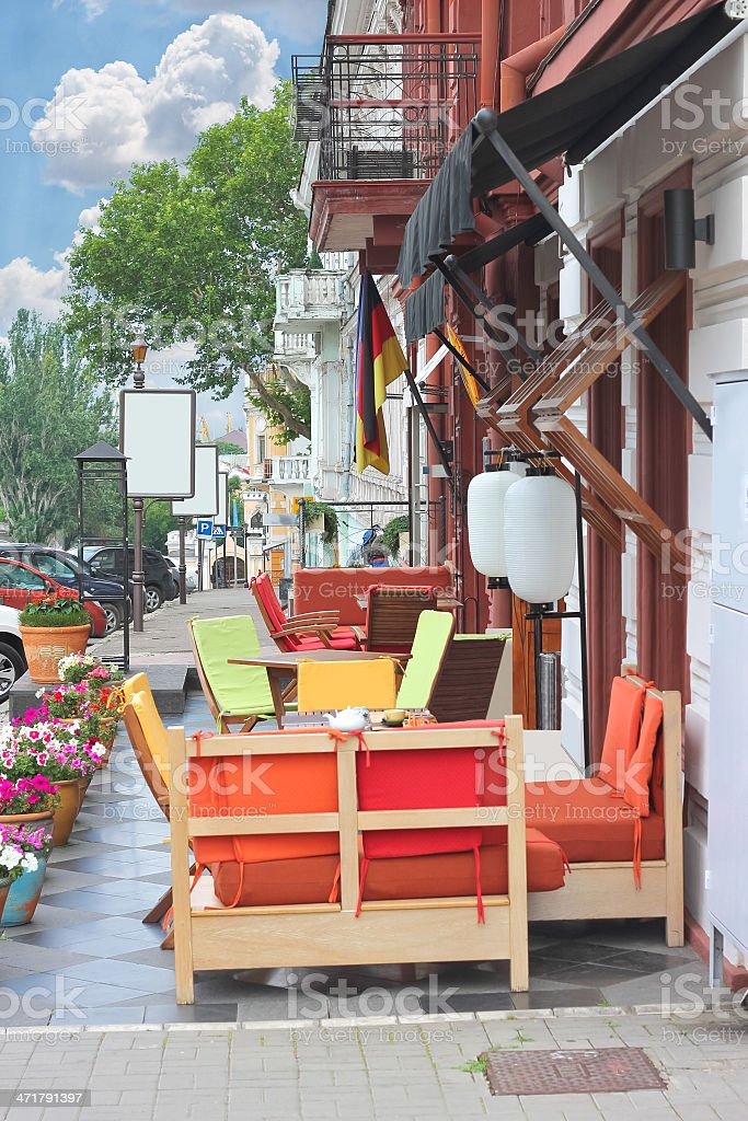 Outdoor cafe in the southern city. Odessa. Ukraine royalty-free stock photo