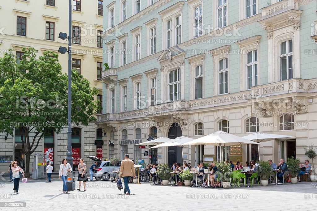 Outdoor cafe on Freyung Square, Vienna, Austria stock photo