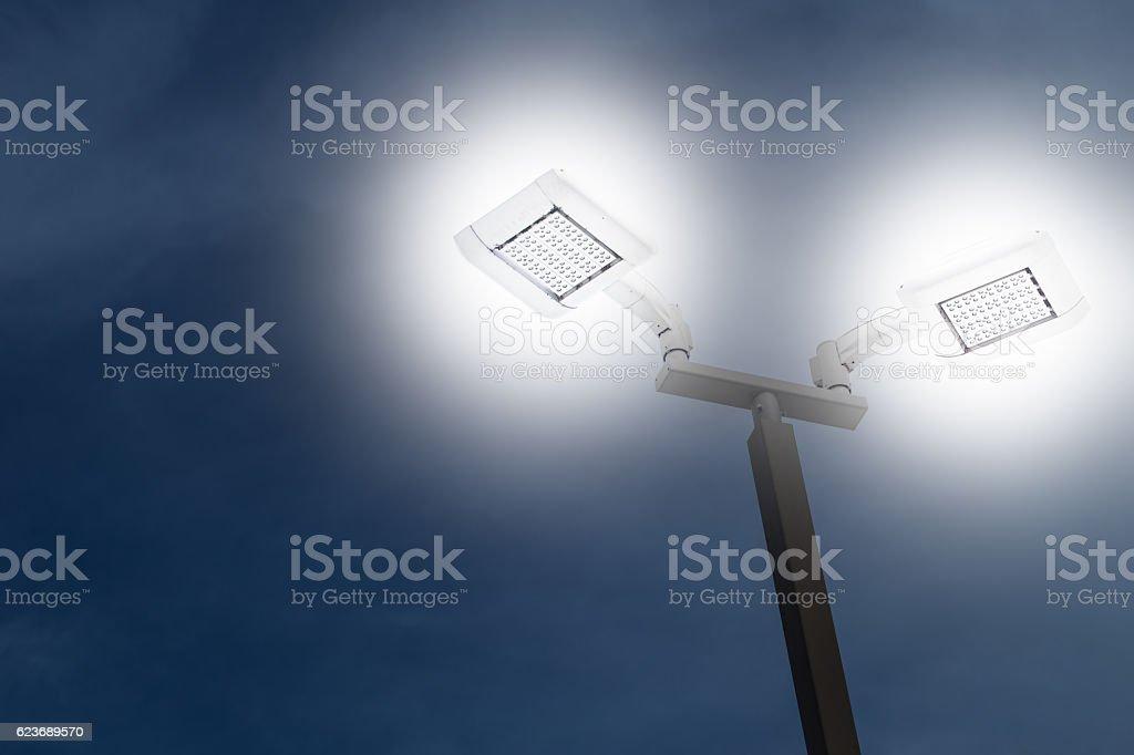 LED outdoor car park flood light stock photo