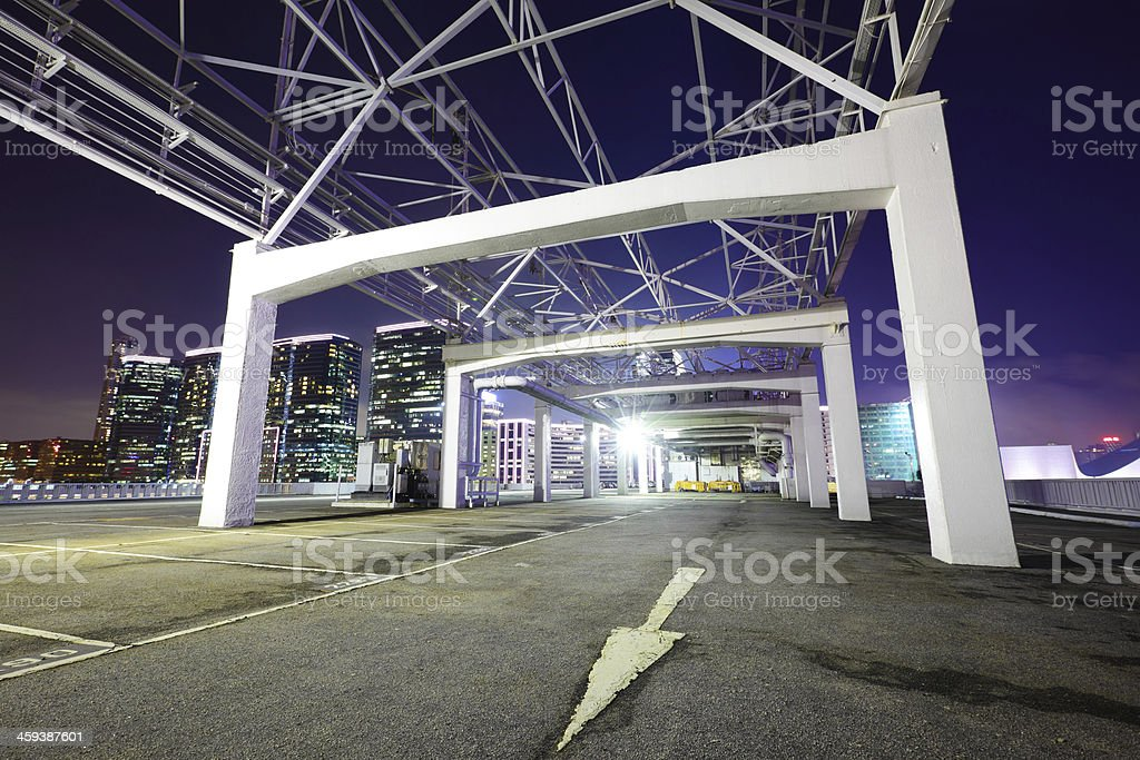 Outdoor car parking lot at night stock photo