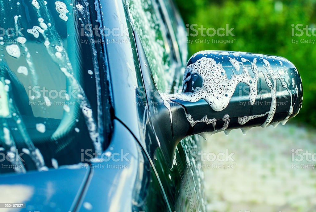 Outdoor car wash stock photo