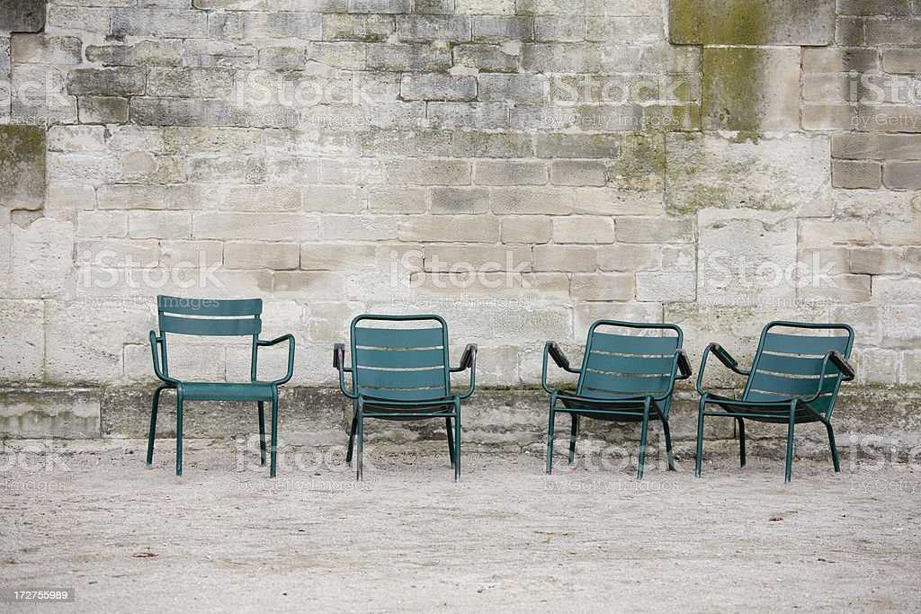Outdoor Chairs in the Jardin de Tuileries, Paris France royalty-free stock photo
