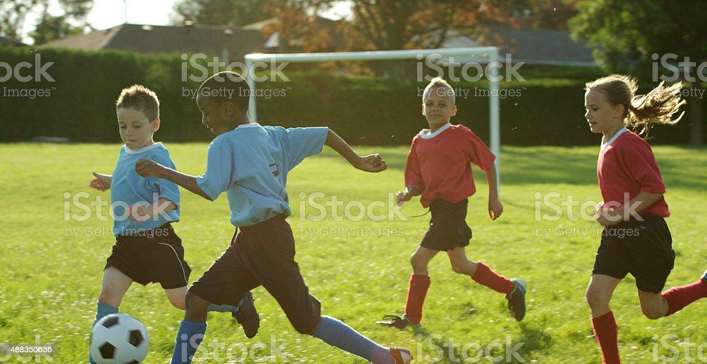 Outdoor Children Soccer Game stock photo