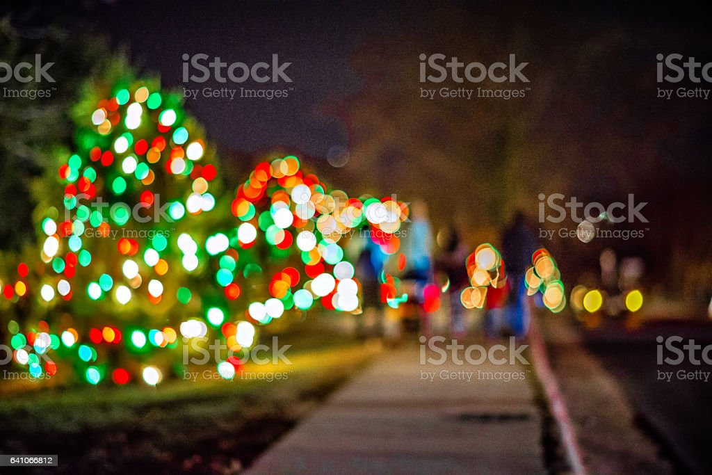 Outdoor christmas decorations at christmas town usa stock photo