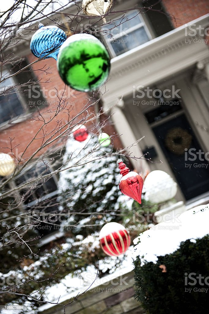 Outdoor Christmas Tree Ornaments, Winter royalty-free stock photo