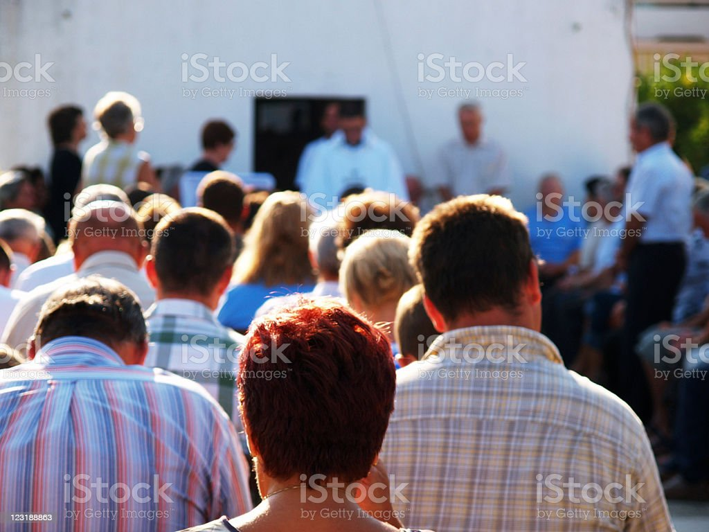 Outdoor church service stock photo