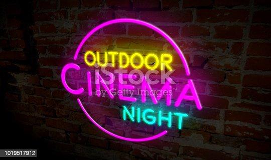 991292404 istock photo Outdoor cinema night neon 1019517912