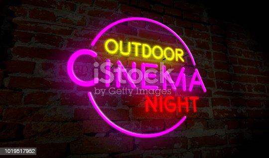 991292404 istock photo Outdoor cinema night neon 1019517952