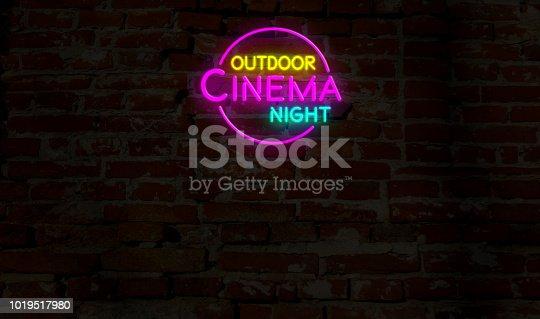 991292404 istock photo Outdoor cinema night neon 1019517980