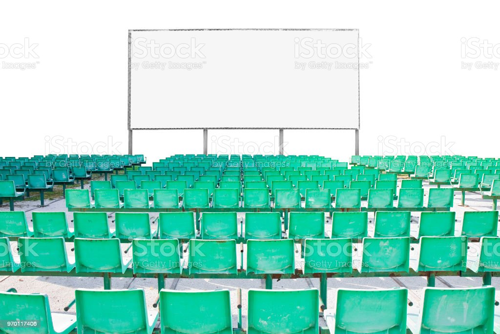 Outdoor cinema with chairs and white projection screen on white...