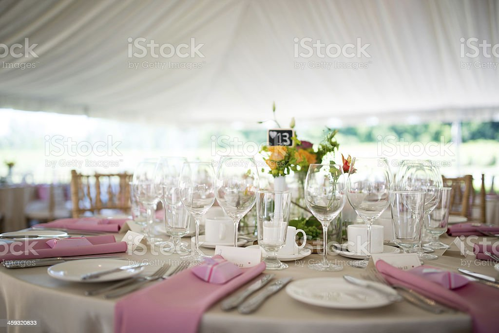 Outdoor Classy Wedding Reception stock photo