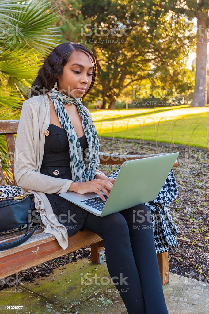 Outdoor Computer Aboriginal Woman royalty-free stock photo