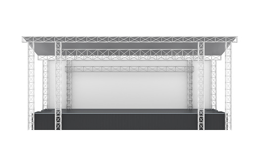 Outdoor Concert Stage isolated on white background. 3D render