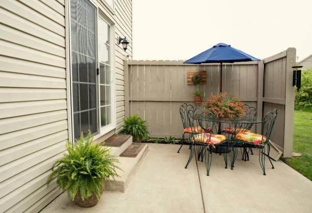 Outdoor Condo Dining Area stock photo