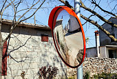Outdoor convex mirrors. Best price traffic safety outdoor convex rear view mirror. Convex mirrors for roadside safety. Traffic safety indoor outdoor convex security safety.
