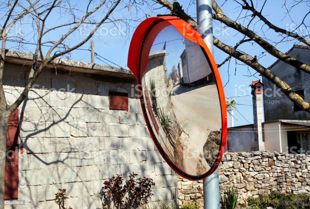 Outdoor convex mirrors. Best price traffic safety outdoor convex rear view mirror. Convex mirrors for roadside safety. Traffic safety indoor outdoor convex security safety. stock photo