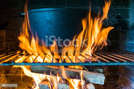 istock Outdoor cooking in a bowl of stainless steel over a burning fire close up. Concept of summer grilling, barbecue, bbq. 882222410