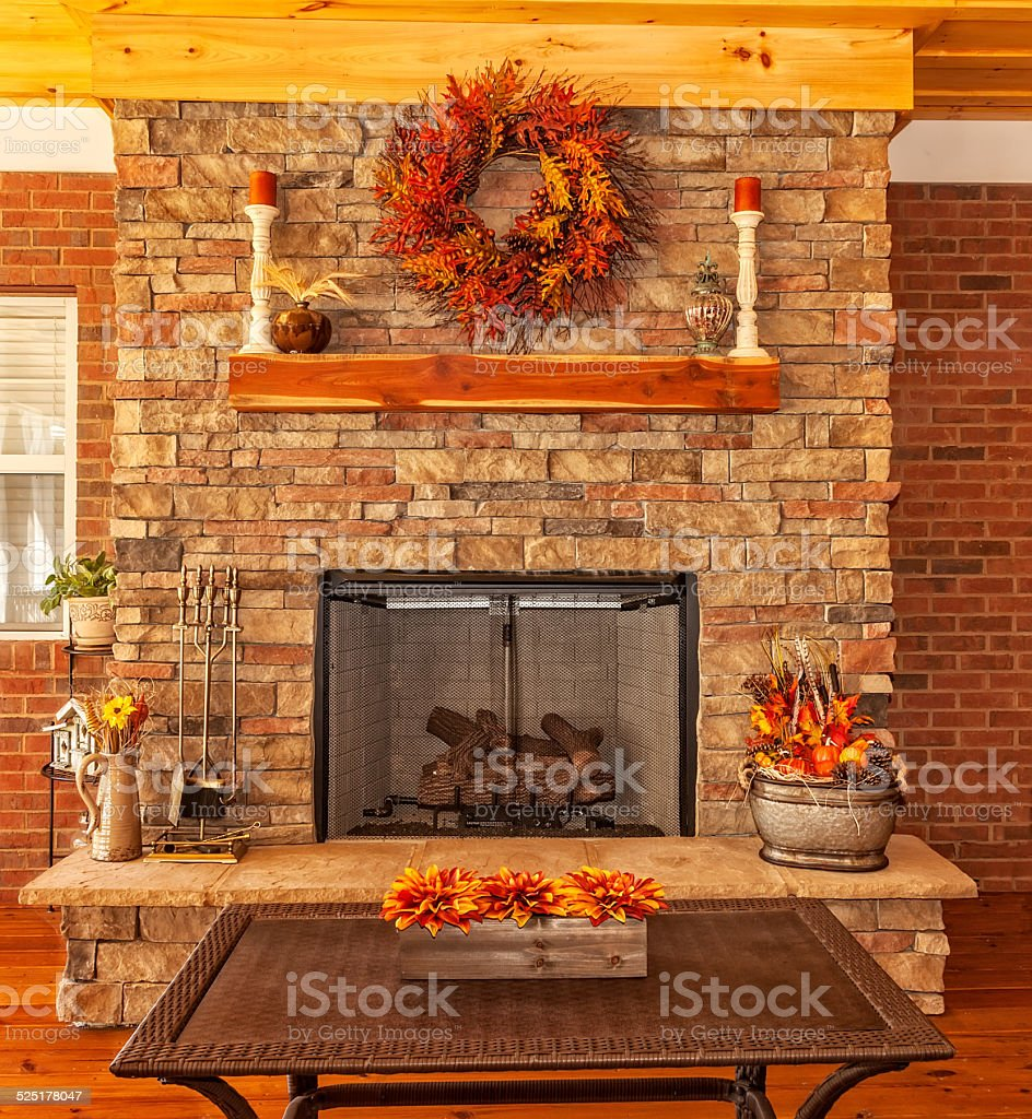 Outdoor Deck with Fireplace stock photo