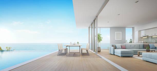 im freien essen und meer blick wohnzimmer neben küche des luxus-strand-haus mit terrasse in der nähe von schwimmbad in modernem design. hause oder im urlaub ferienhaus für großfamilie. - küstenfamilienzimmer stock-fotos und bilder