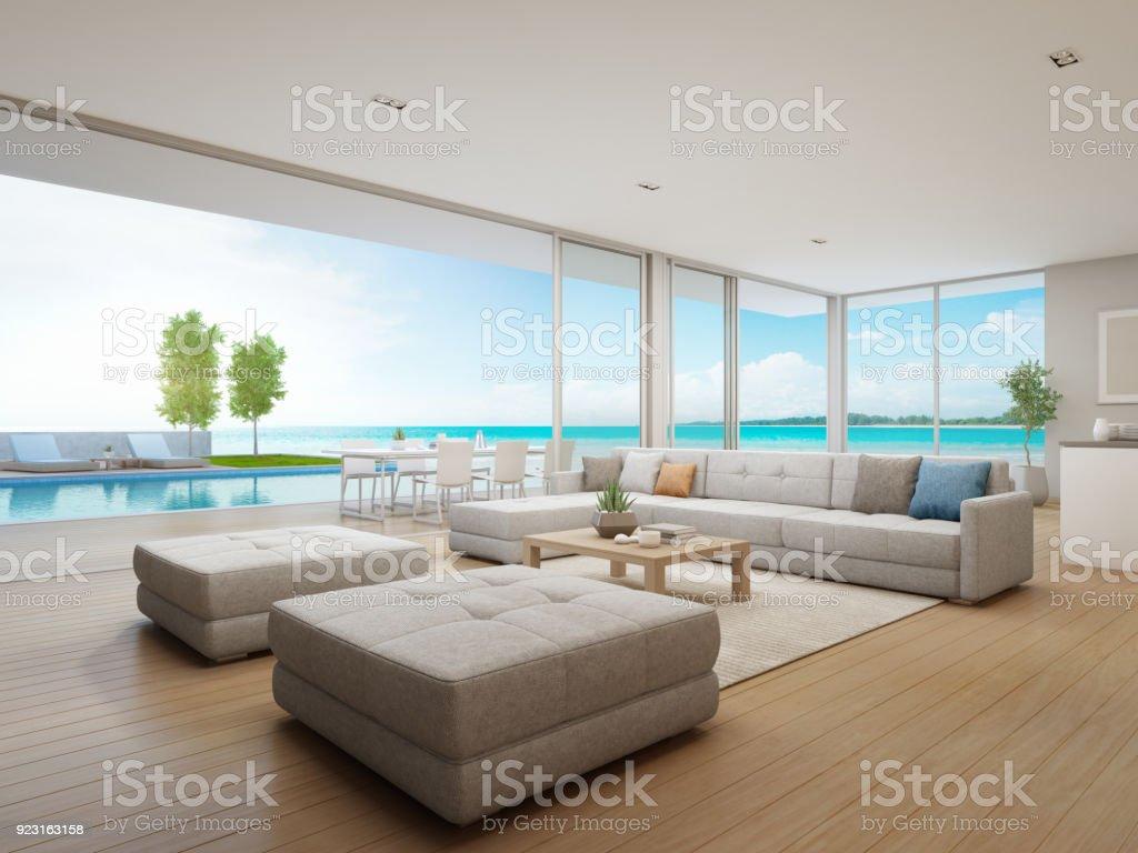Buiten dineren en uitzicht op zee woonkamer van luxe strandvilla