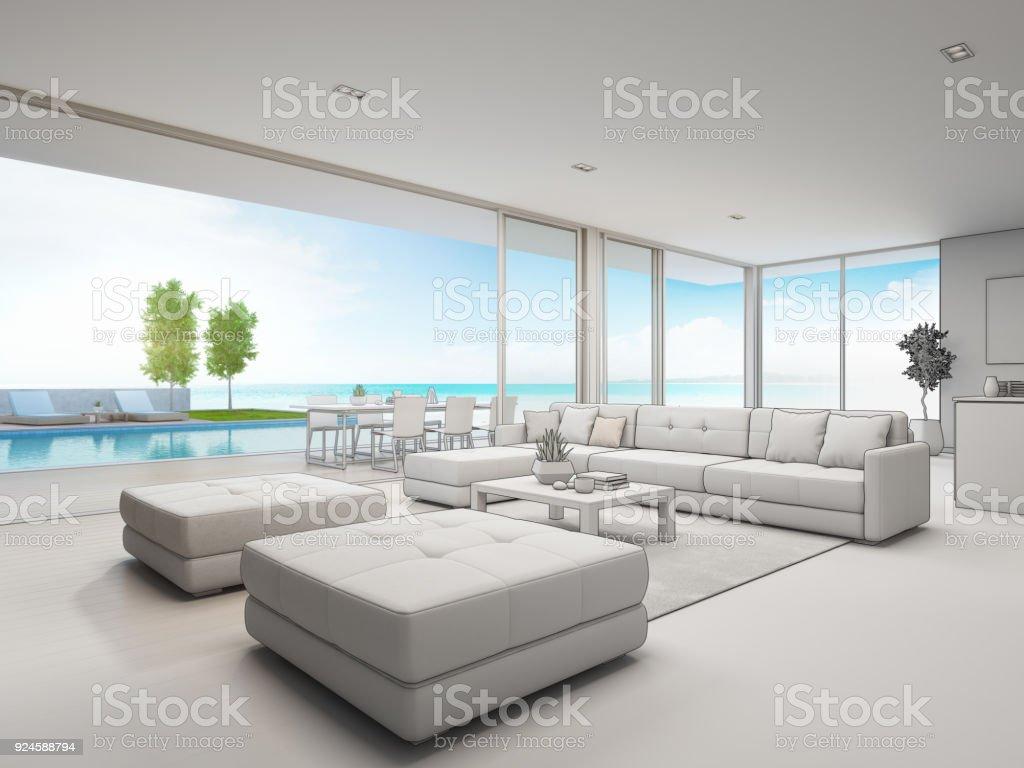 Im Freien Essen Und Meer Anzeigen Wohnzimmer Des Luxusstrandhaus Mit