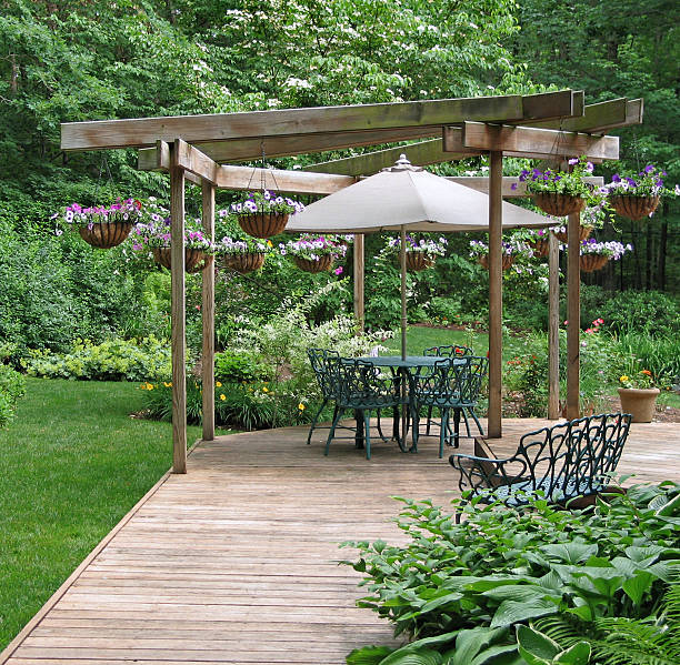 Outdoor dining area in a garden stock photo